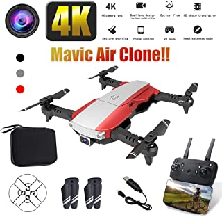 折りたたみ式WiFiドローンw/音声制御/ 90°広角4K HDカメラ/軌跡飛行/高度保持/Gセンサー/ヘッドレスモード/ワンキーリターン/アプリ制御,Red