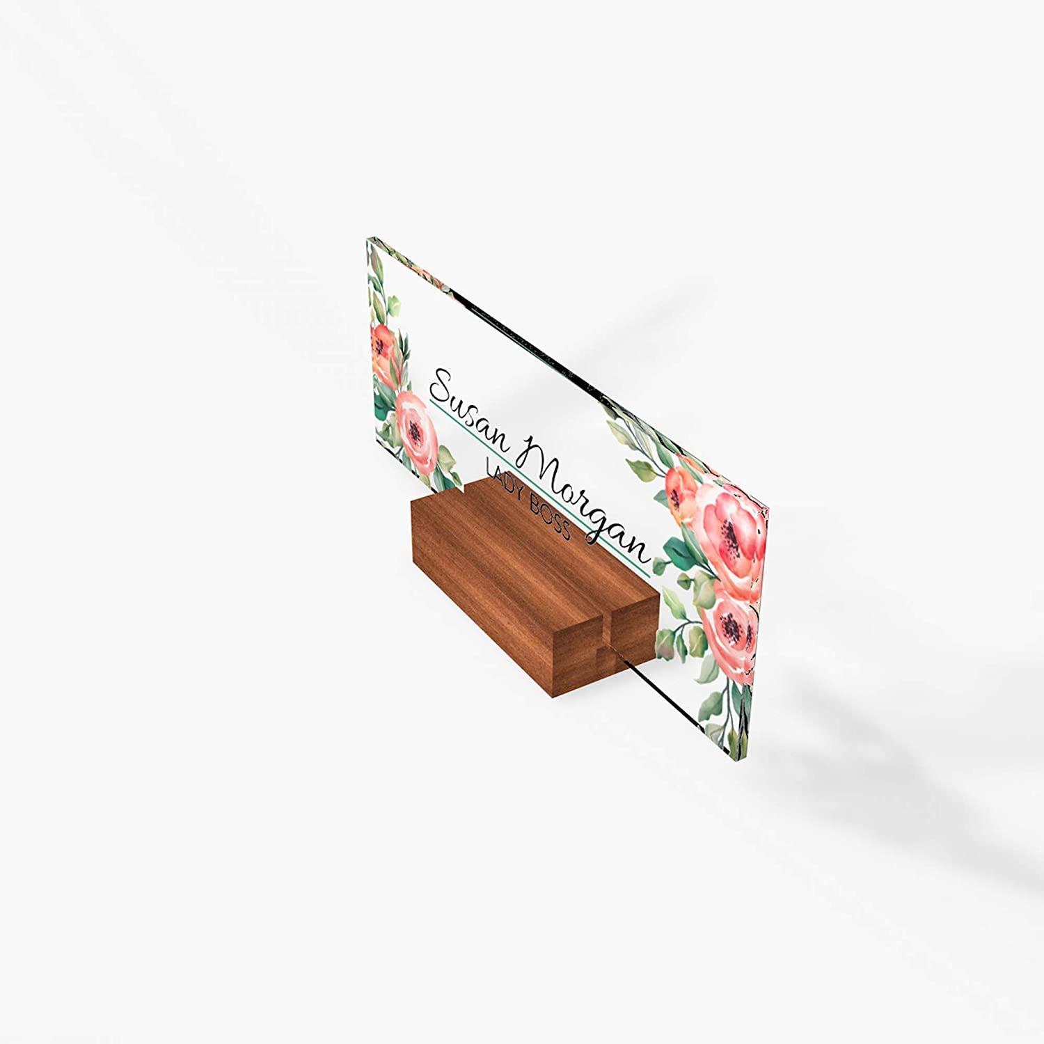 8x3 Desk Name Plate Office Supply Personalized Secretary Sign Gift Custom Nurses Teacher friend special Wood Rose floral flowers
