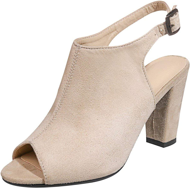 Gedigits Women's Fashion Chunky High Heel Peep Toe Sandals Light Brown 4.5 M US