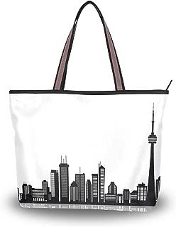Canadian Toronto Black White M Beach Shopper Bag Extra Large Tote Handbag Men Women Shoulder Purse