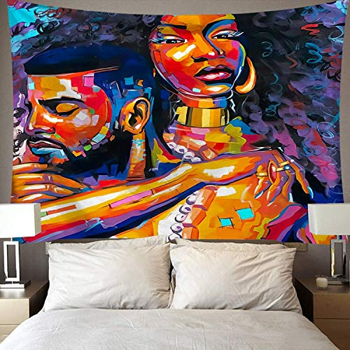 KHKJ Tapiz de Arte Negro Afro Mujer afroamericana Pareja Vino Tinto Amor Meditación Hip Hop Chica Tapices de Tela para Colgar en la Pared A10 95x73cm