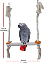 CRAFTMAVEN Large Bird Swing for Parrots Sand Perch Natural Wood Sand Coated, Manicure Nails Fun & Healthy Non Toxic for Grey Parrots, Eclectus, Cockatoo, Macaw and Other Large Birds