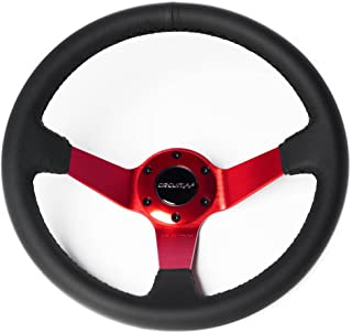 Circuit Performance CP350 Steering Wheel Red Center with Black Leather and Black Stitching 350mm Deep Dish