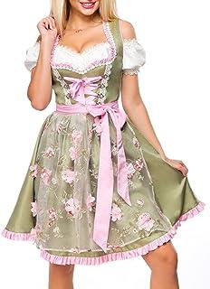 Dirndline Dirndl mit Blumenschürze Frauen Mittellanges Kleid grün/pink