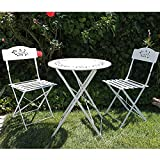 OC Orange-Casual 3 Piece Patio Set, Outdoor Bistro Set Folding, Garden Table Porch Chairs, Lawn Chairs for Adults with Decorative Design-White