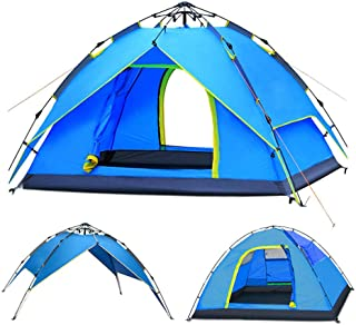 ayamaya Camping Tents 3-4 Person Automatic Pop Up, Waterproof Double Layer Quick Setup 2 Doors Hydraulic Automatic Big Family Beach Dome Tent UV Protection for Men Women Adults