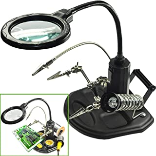 LEDライトが手の拡大鏡ステーション - FEITA 2.5X / 4Xハンダ付けフレームとスポンジヘビーデューティーベース付きライト拡大鏡ブラケットフィクスチャとワニ口クリップ、溶接、修理、ワークショップ、趣味