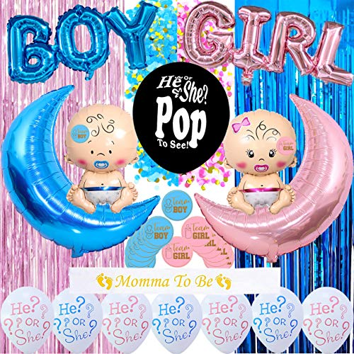 Gender Reveal Party Supplies Boy or Girl Gender Reveal Balloons Kit Pink and Blue Metallic Curtains36#039#039 Jumbo Confetti Balloon Mommy To Be Sash For Baby Shower