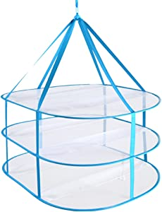 Household Folded 3-Tier Drying Rack Windproof Laundry Hanging Clothes Basket Hot Blue