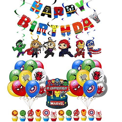 Decoraciones de Superhéroe Fiesta Globos de Superhero Vengadores Feliz Cumpleaños del Pancarta Superhéroes Remolinos Colgantes de Decoración Avengers Decoracion Tarta