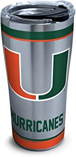 Tervis 1297987 NCAA Miami Hurricanes Tradition Stainless Steel Tumbler With Lid, 20 oz, Silver