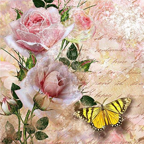 20 Servietten Schmetterling an Rosen/Blumen/Tiere/Vintage 33x33cm