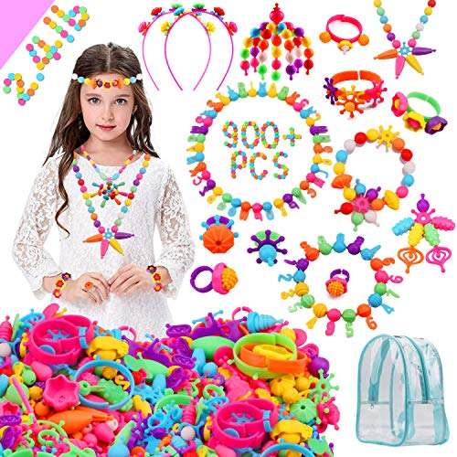 HUMUTU Snap Pop Beads for Girls Toys, 800+PCS DIY Jewelry Making Kits, ArtandCraft Kits Bracelets Necklace Hairband and Rings Toy for Age 3 4 5 6 7 8 Year Old Girls