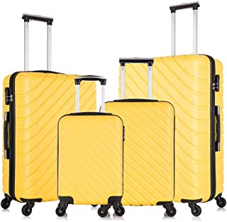 4 piece luggage set with spinner wheels luggage carry on hardshell luggage sets suitcase 18 20 24 28 inch (Yellow)