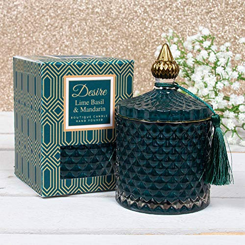 Desire Oud - Vela perfumada de cera de soja con aroma a bergamota en cristal artesanal con tapa y caja de presentación