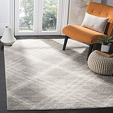 Safavieh Adirondack Collection ADR129B Light Grey and Ivory Modern Plaid Area Rug (4' x 6')