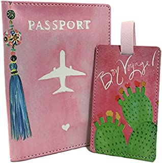 Faux Leather Passport Cover and Luggage Tag Set (Tassel)
