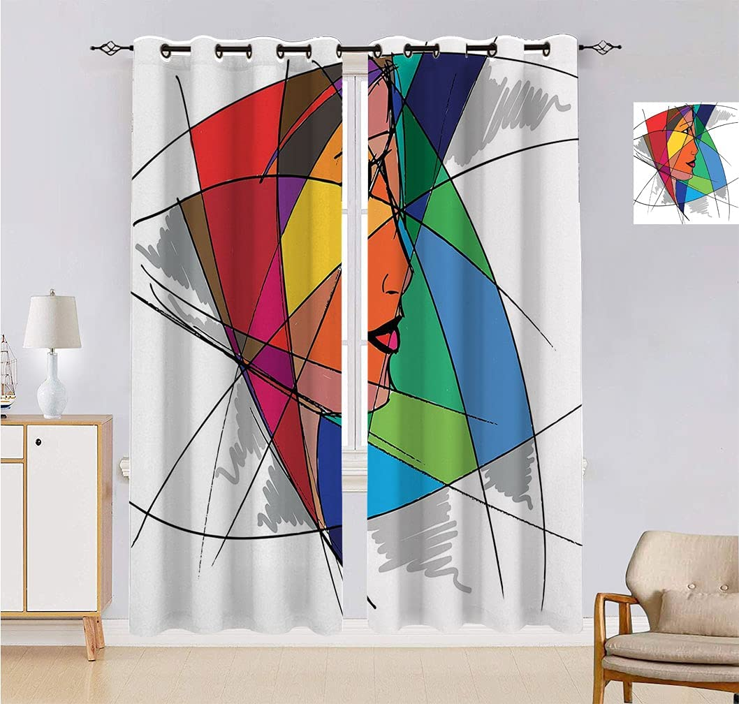 Abstract Max 49% OFF Room Spring new work one after another Darkening Curtain Woman Face Artistic Colorful in