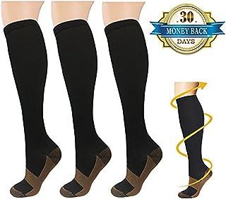 feifanshop, 3 Par Calcetines de Compresión, para Hombre y Mujer, Deporte, Running, Correr, Varices, circulación sanguínea, recuperación, Embarazo, vuelos, Dolor de espinillas y piernas