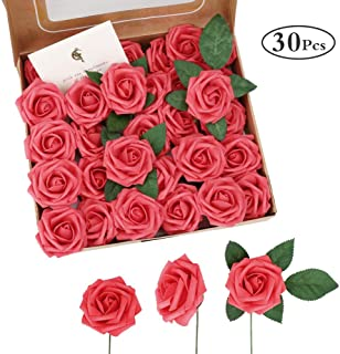 INTSUN Red Roses Artificial Flowers, 30Pcs Foam Roses Real Looking Fake Roses Decoration DIY for Wedding Bouquets Centerpieces, Arrangements Party Home Decorations