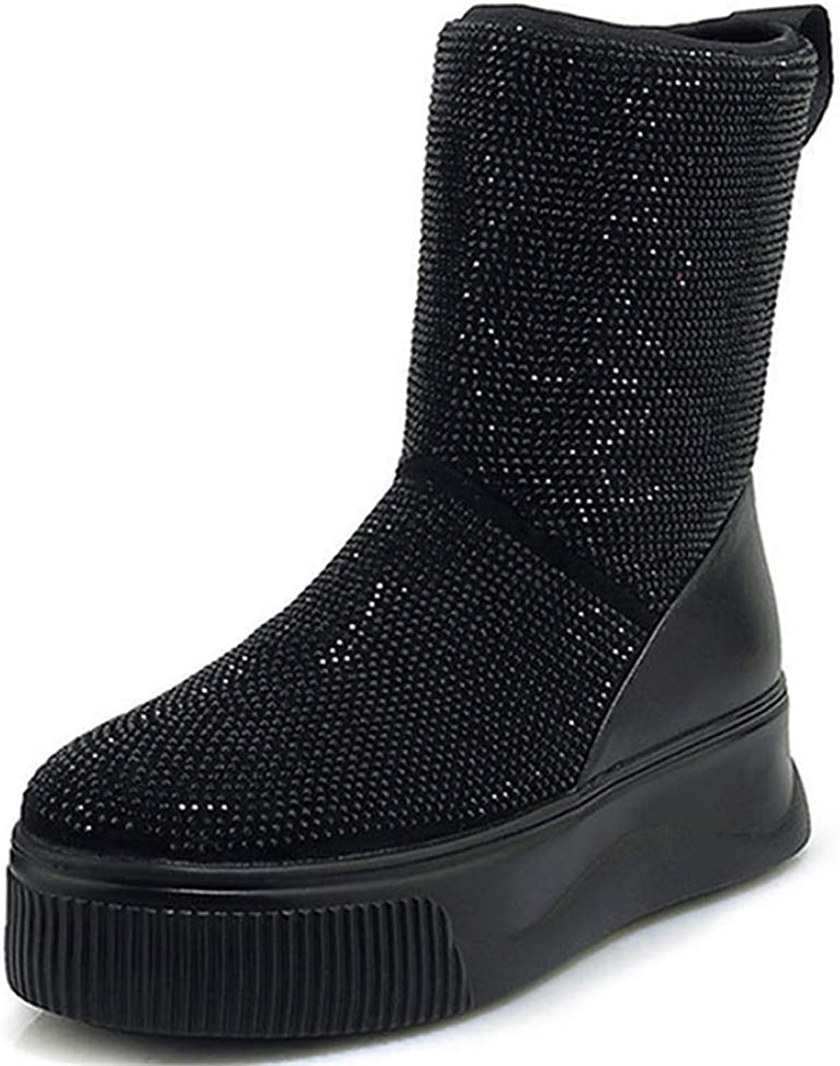 Genuine Leather Crystal Snow Boots Womens Winter Slip On Flat Warm Thick Fur Lined Ankle Booties