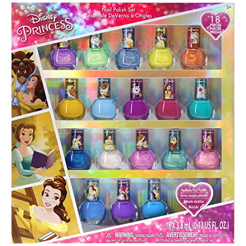 Townley Girl Disney Princess Belle Non-Toxic Peel-Off Nail Polish Set for Girls, Glittery and Opaque Colors, Ages 3+ - 18 Pack