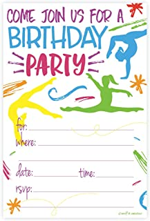gymnastics themed party invitations