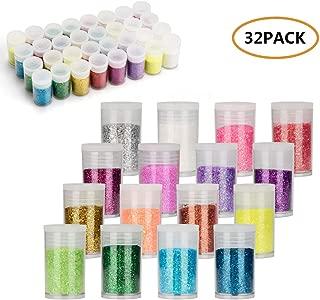 Fine Slime Glitter, 32 Pack Assorted Color Fine Glitter Shake Jar Set, 16 Colors/Set