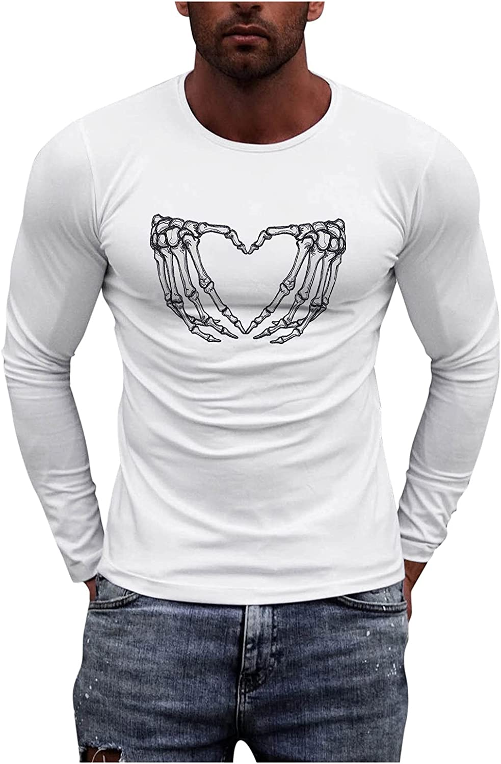 HONGJ Long Sleeve T-shirts for Mens, Fall Graphic Printed Athletic Muscle Workout Sports Basic White Tee Casual Tops