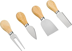 Cheese Knives - 4 Pieces Set Cheese Knife - Stainless Steel Cheese Slicer with Wood Handle Cheese Cutter ,4 Cheese Knives Set include:Mini Knife, Butter Knife, Spatula & Fork