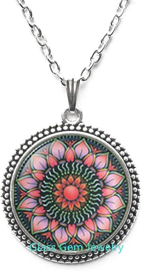Festival Necklace mandala Boho Necklace Spiritual Jewelry Geometric Necklace Sri Yantra lotus necklace Sacred Geometry necklace