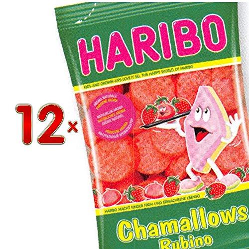 Haribo Chamallows Rubino 12 x 175g Packung (weiche Schaumzucker- Marshmallows in Erdbeergeschmack)
