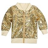 Cilucu Kids Jackets Girls Boys Gold Sequin Zipper Coat Jacket for Toddler Long Sleeve Clothes 5-6T
