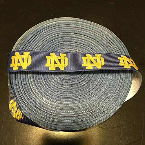 Grosgrain Ribbon Notre Dame Fighting Irish Printed are for Hair Bows Crafts Gifts and More 7/8 inch (1 Yard)