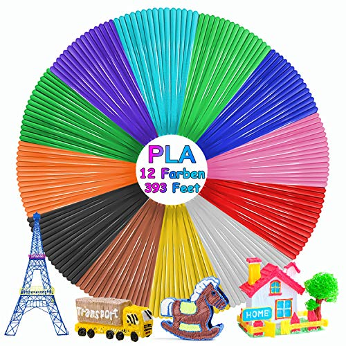 3D Stift filament PLA, 12 Farben 3D Stift Filament 1.75MM 10M 3D Print Filament 3D Printing Pen Supplies für Kinder Gesamt 120M / 394 ft (120M-1)