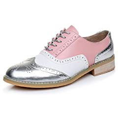 37520332211 LaRosa Women s Classical Leather Wing-up Brogues Flat Lace-up .