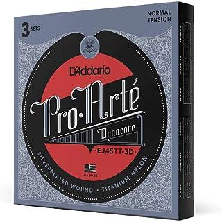 D'Addario EJ45TT ProArte DynaCore Classical Guitar Strings, Titanium Trebles, Normal Tension, 3 Sets