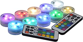 Idubai 10 Pack Submersible LED Lights with Remote,Super Bright Small Waterproof LED Lights for Vases Fountain Pool Holiday...