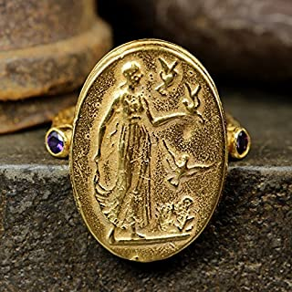 Ancient Roman Art Signet Greek Coin Ring 925 Sterling Silver 24K Yellow Gold Vermeil Handcrafted Artisan Jewelry