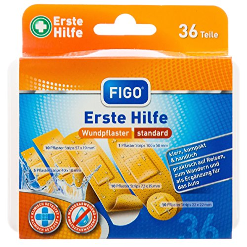 Figo Erste-Hilfe-Box/Reiseset, 2er Pack (2 x 36 Stück)