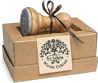 Ex libris Sellos Personalizados Árbol de la Vida Flores Floreciente, Madera Diámetro 37mm, Caja Regalo Especial
