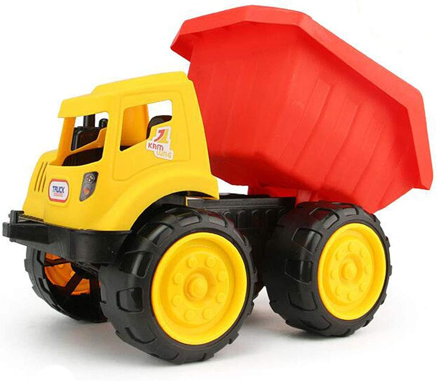 Dump Truck in Yellow and Red ,Friction Powered Car Toys, Push and Go Construction Vehicles Cars, Early Educational Toddler Toys for 28 Year Old Kids