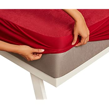 "Wakefit Water Proof Terry Cotton Mattress Protector - 78"" x 60""/1.98 m x 1.52 m, Queen Size, Maroon"