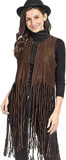 PERSUN Women's Faux Suede Tasseled Sleeveless Collarless Vest Waistcoat