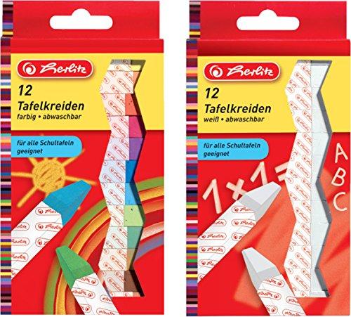 Herlitz Tafelkreide, papiergewickelt, abwaschbar - Kombi-Set: farbig sortiert + weiß (24 Stück)