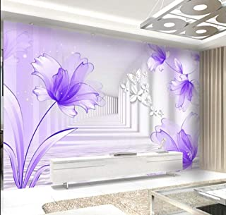 LIVEXZ DIY,3D Abstract Purple Flower Butterfly Wallpaper for Walls Printing Roll Wall Murals Home Decor Living Room