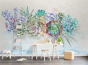 SKTYEE Papel pintado sedoso de moda personalizado suculentas frescas estilo acuarela 3d mural estéreo TV fondo papeles de pared decoración del hogar behang-A, 200x140 cm (78.7 by 55.1 in)