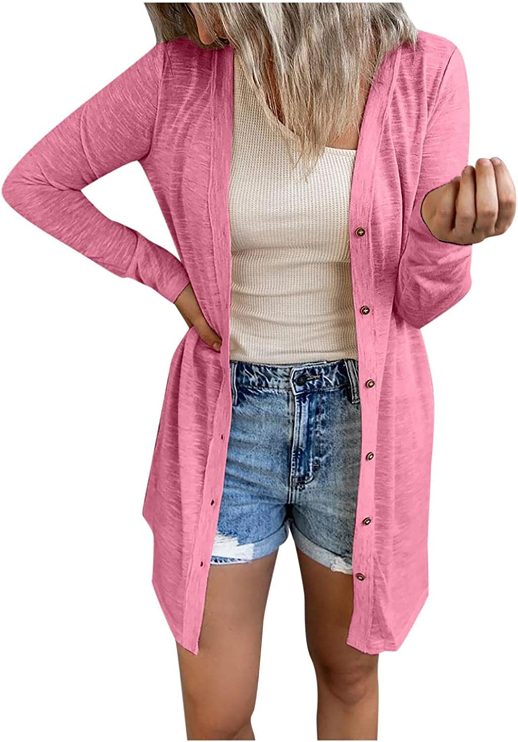 Cardigan for Women, Womens Open Front Cardigans Sleeve Shawl Collared Lightweight Cape Waffle Knit Slouchy Cloak