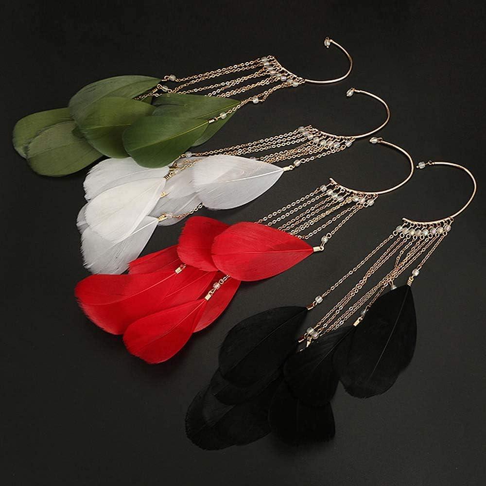 Daimay Ear Crawler Climber Womens Tassel Feather Long Ear Wrap Charm Cuff Earring Non Pierced Drop Dangle Earrings for Women – White