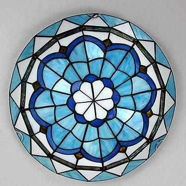 ZMLG Plafonnier de Style LED Tiffany, Lampe de Plafond Chambre Méditerranéen Abat-Jour en Verre Fait Main 3 Changement de Cou